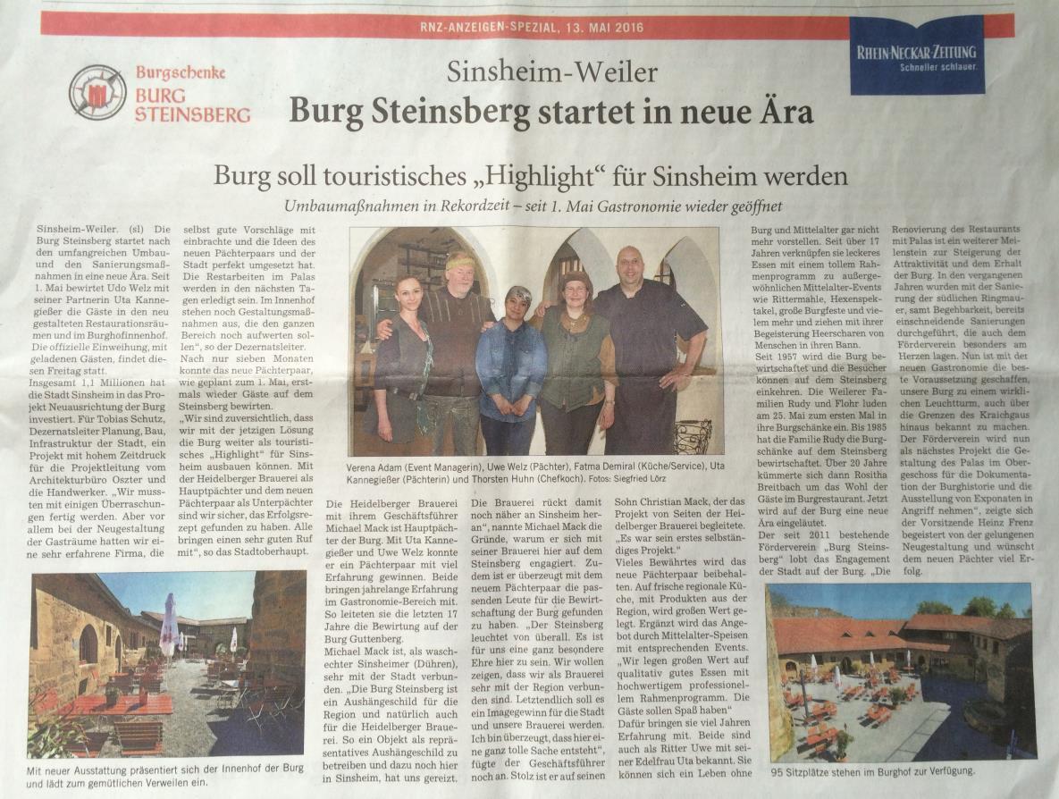 Steinsberg startet in eine neue Ära